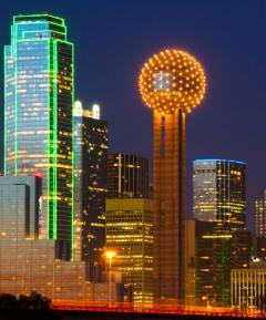 view of downtown Dallas, TX at night